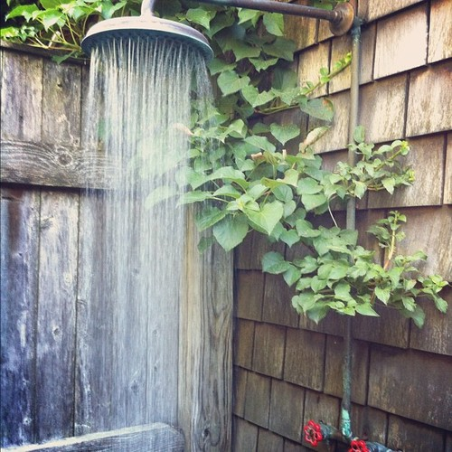 Great Outdoor Shower Head Content In A Cottage