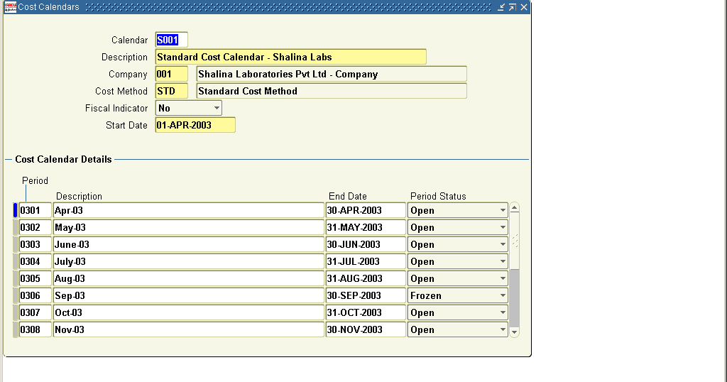Setting Up Cost Calendar In Oracle Costing Oracle Apps