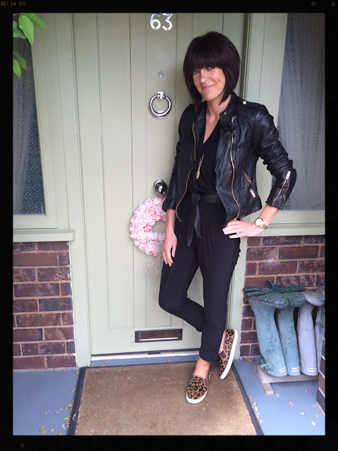 My Midlife Fashion, Wallis, Boden, Zara, Jumpsuit, Biker Jacket, Leather Coat, leopard print, animal print, skater shoes, slip ons, styling a jumpsuit