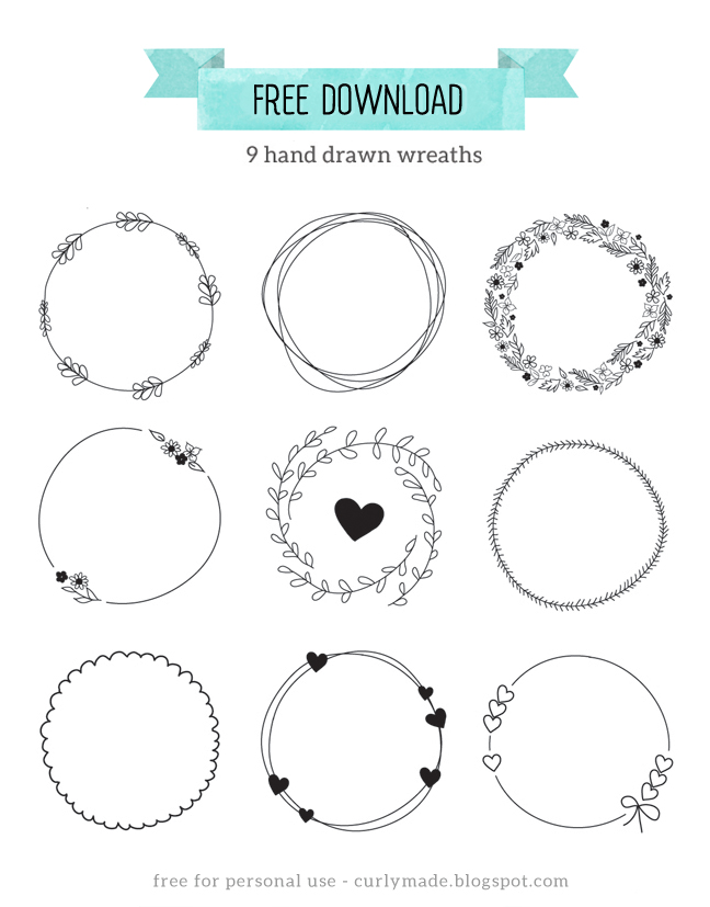 Free Download Hand Drawn Wreaths Curly Made