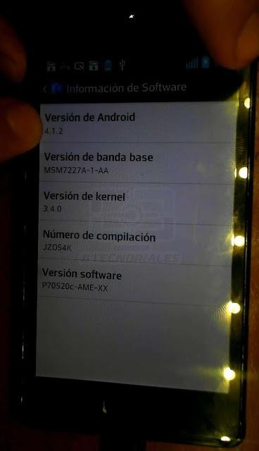 Android JB 4.1.2 en lg l7 p705