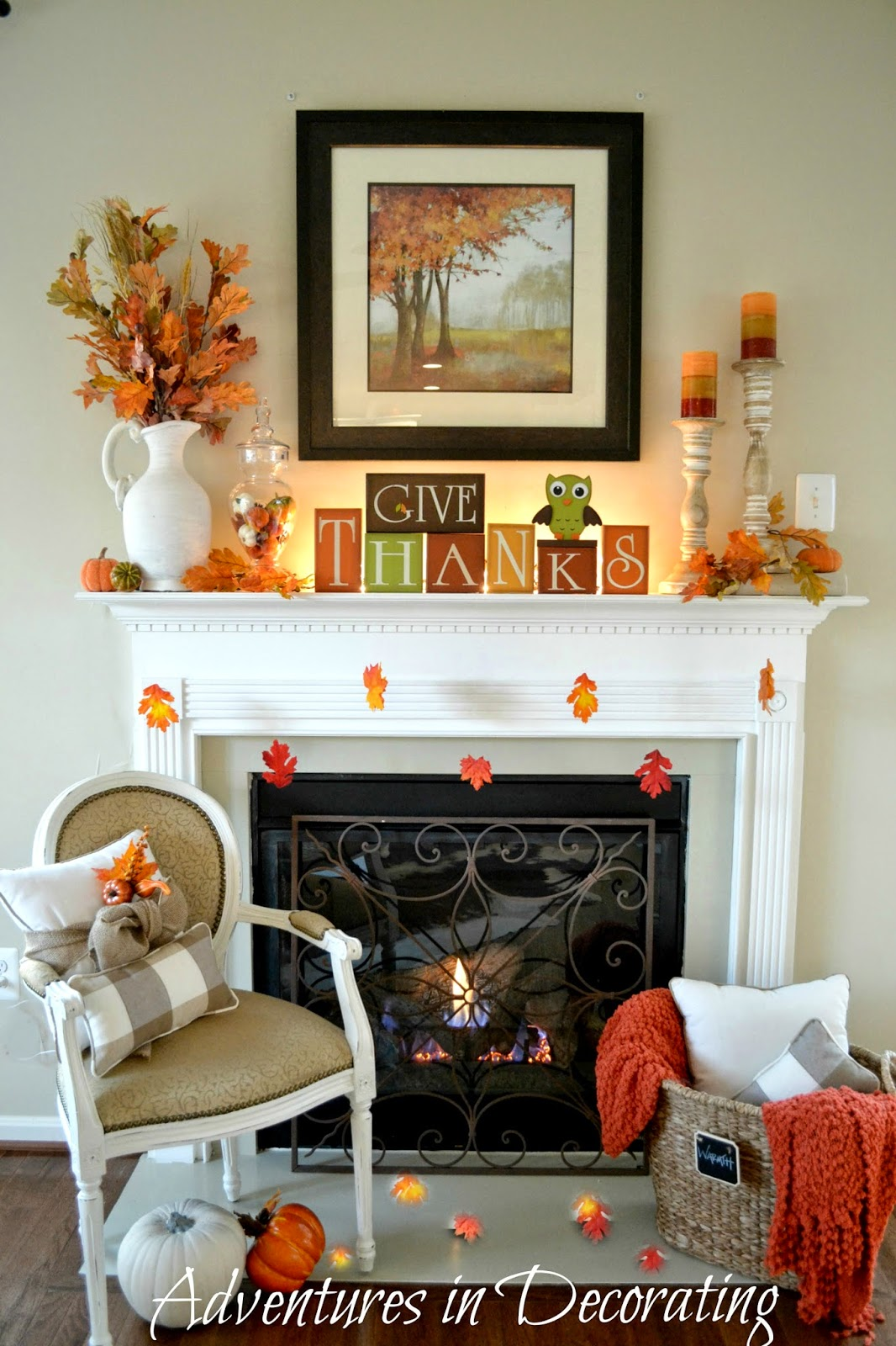 Simple Fall Wreath: Adventures In Decorating: Our Simple Fall Mantel