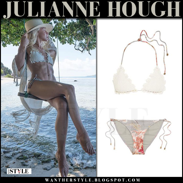 Julianne Hough in crocheted bikini zimmermann beach style july 17 2017