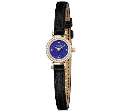 Hermès Faubourg Lapis Lazuli with diamond set rose gold case and black strap
