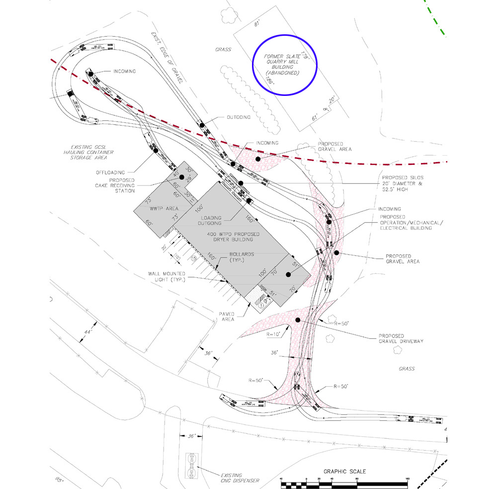Slate mill shows as abandoned on synagro site plan but present use in variance application seen below