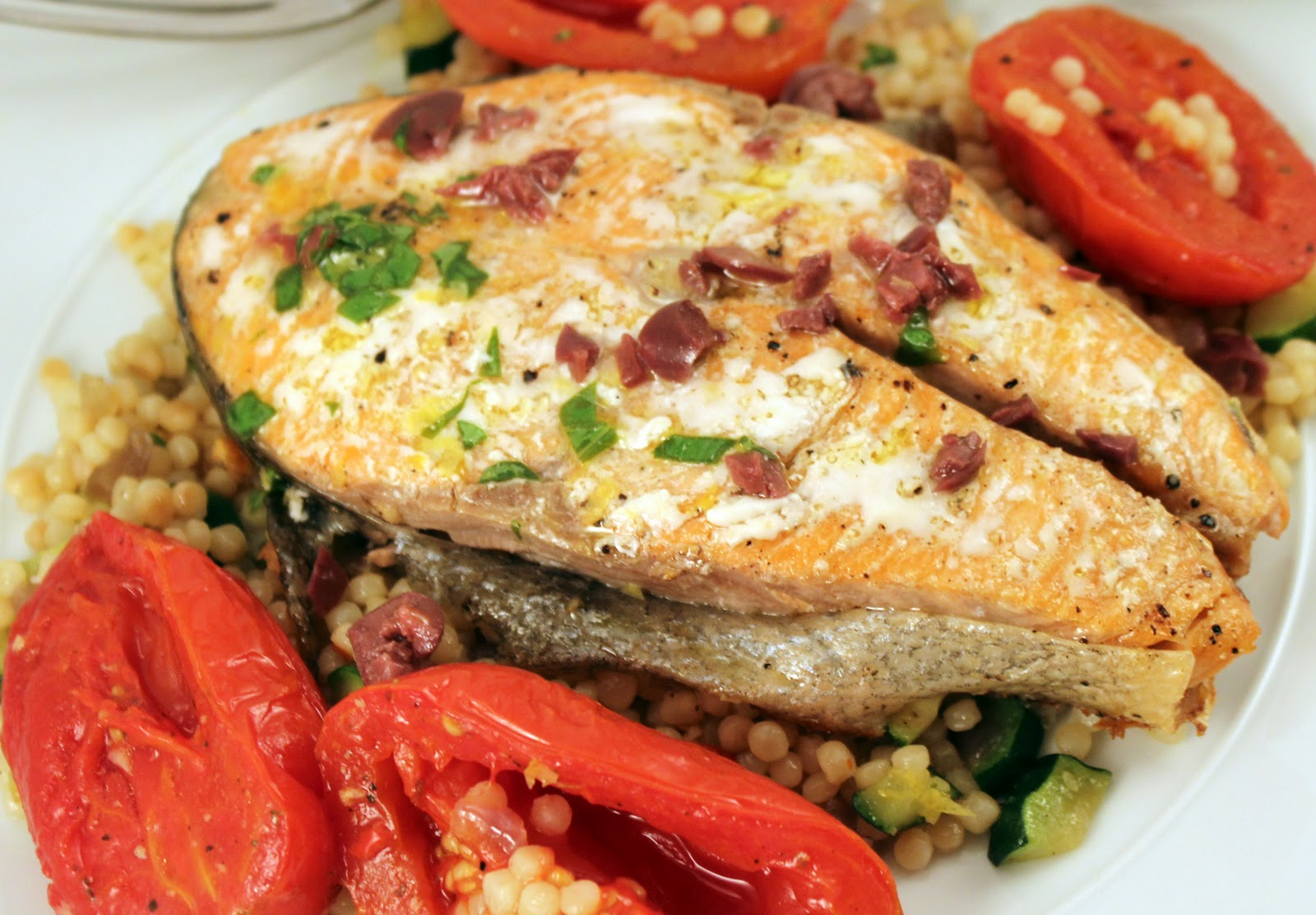 Simply Scrumptious Salmon With Slow Roasted Tomatoes And Vegetable Israeli Couscous