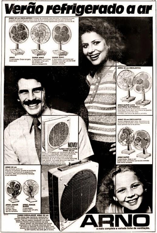 Campanha da Arno apresentada em 1974 com a sua linha de ventiladores e circuladores de ar