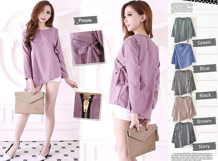 Jual Baju Lengan Panjang Belicia Long Blouse - 13192