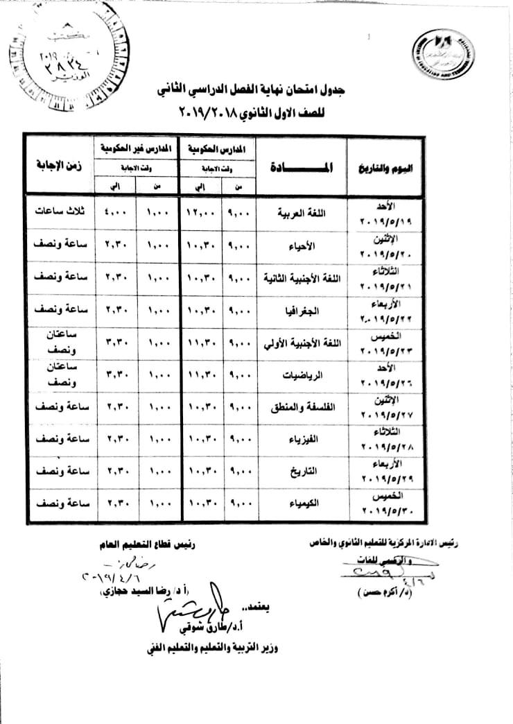 جدول إمتحانات الصف الاول الثانوى الترم الثانى دور مايو 2019