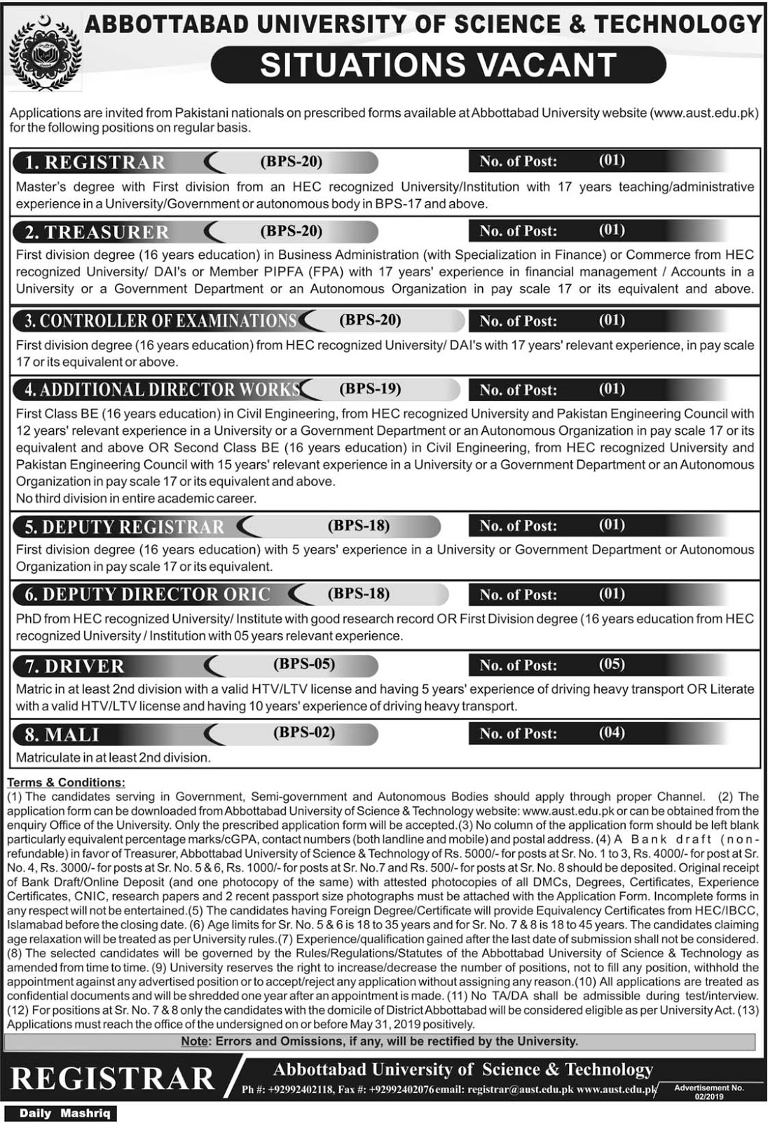Abbottabad University Of Science And Technology Latest Jobs