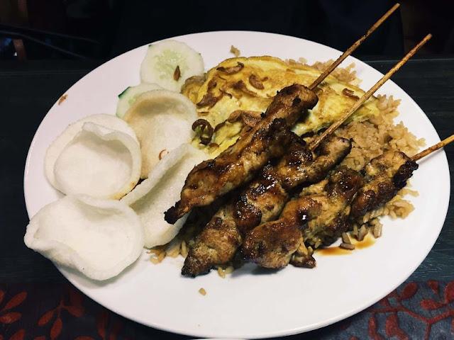 Nasi goreng and chicken satay at Warung Indo