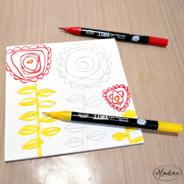How to Outline Mixed Media Flowers with a Red and Yellow Izink Dye Felt Brush Pen