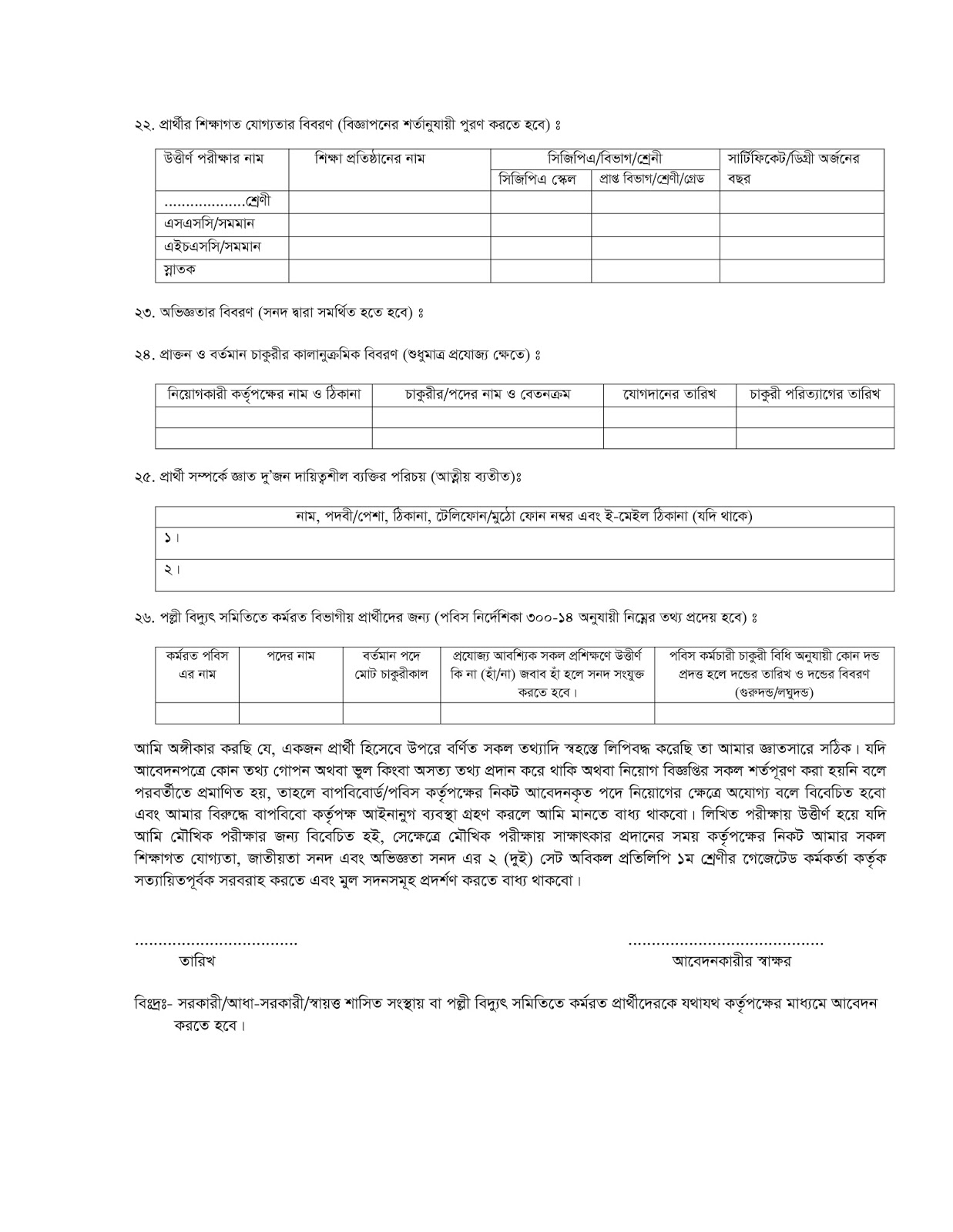 Kushtia Palli Bidyut Samity Job Driver Application form