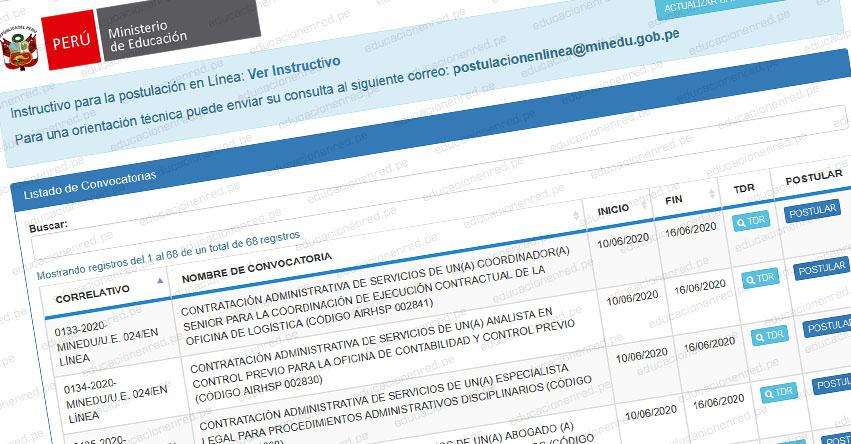 MINEDU: Convocatoria CAS JUNIO 2020 - Ministerio de Educación [INSCRIPCIÓN DE POSTULANTES] www.minedu.gob.pe