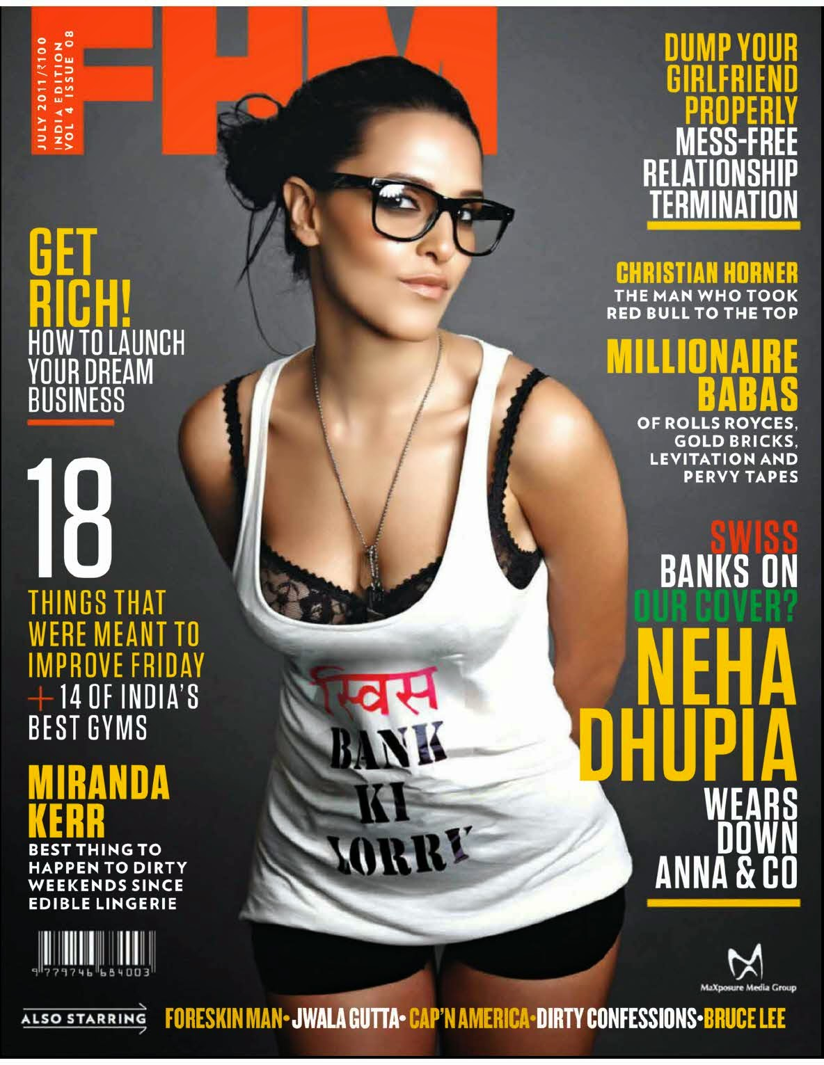 Neha Dhupia on FHM India July 2011 Magazine Cover