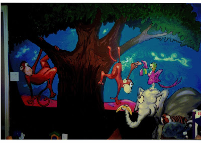 boon cartoonist for hire paints mural for kids room jungle scene monkey elephants