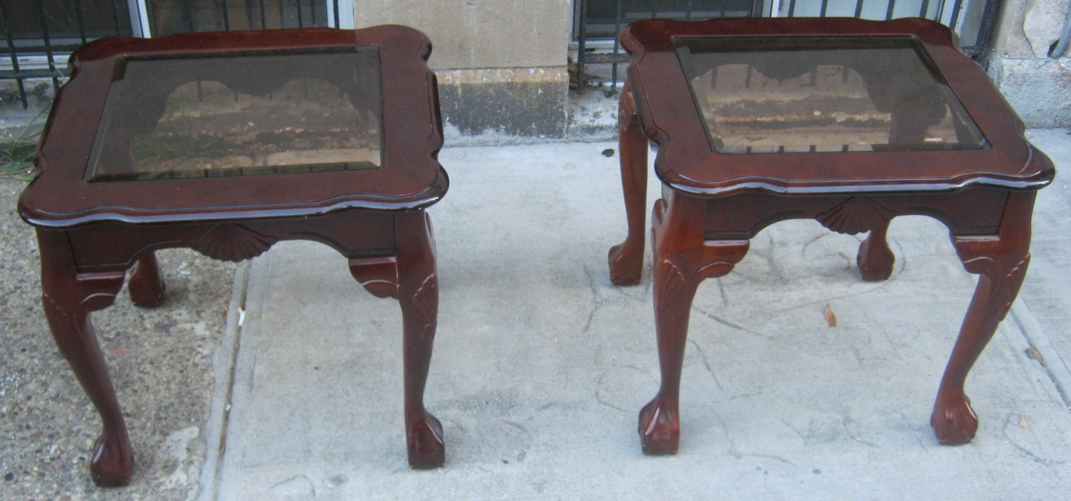 Two End Tables With Ball Claw Feet Sold