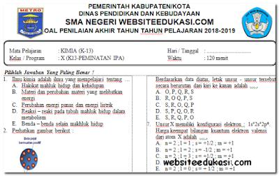 Soal PAT/UKK Kimia Kelas 10 K13 tahun 2018/2019