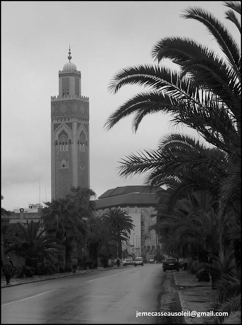 Mosquée Hassan II de Casablanca sous la pluie