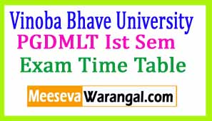 Vinoba Bhave University PGDMLT Ist Sem (sess 2016-17) Exam Time Table