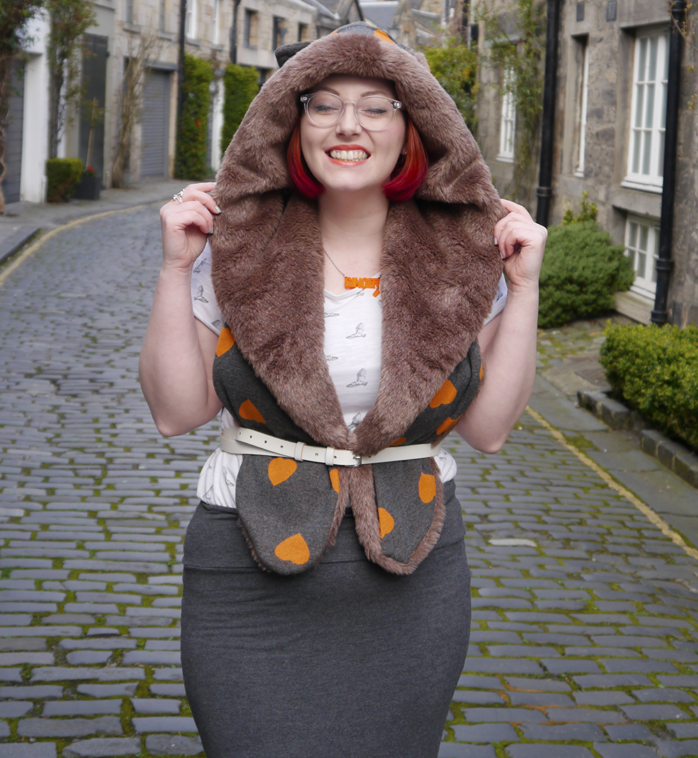 Styled by Helen, Scottish blogger, Scottish fashion blogger, red head, Chouchou, Chouchou Couture, fashion hood, hood scarf, kitty hood, kitty ears, faux fur, love heart print, pops of orange, bonnie bling, ginger, giner necklace, casual day look, casual everyday style, Edinburgh, Stockbridge Edinburgh, Edinburgh blogger, independent designer