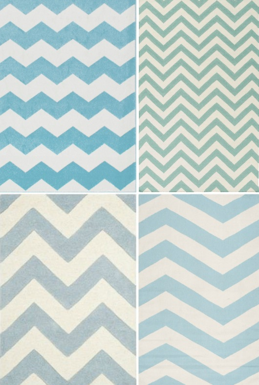 Light Blue Chevron Rugs