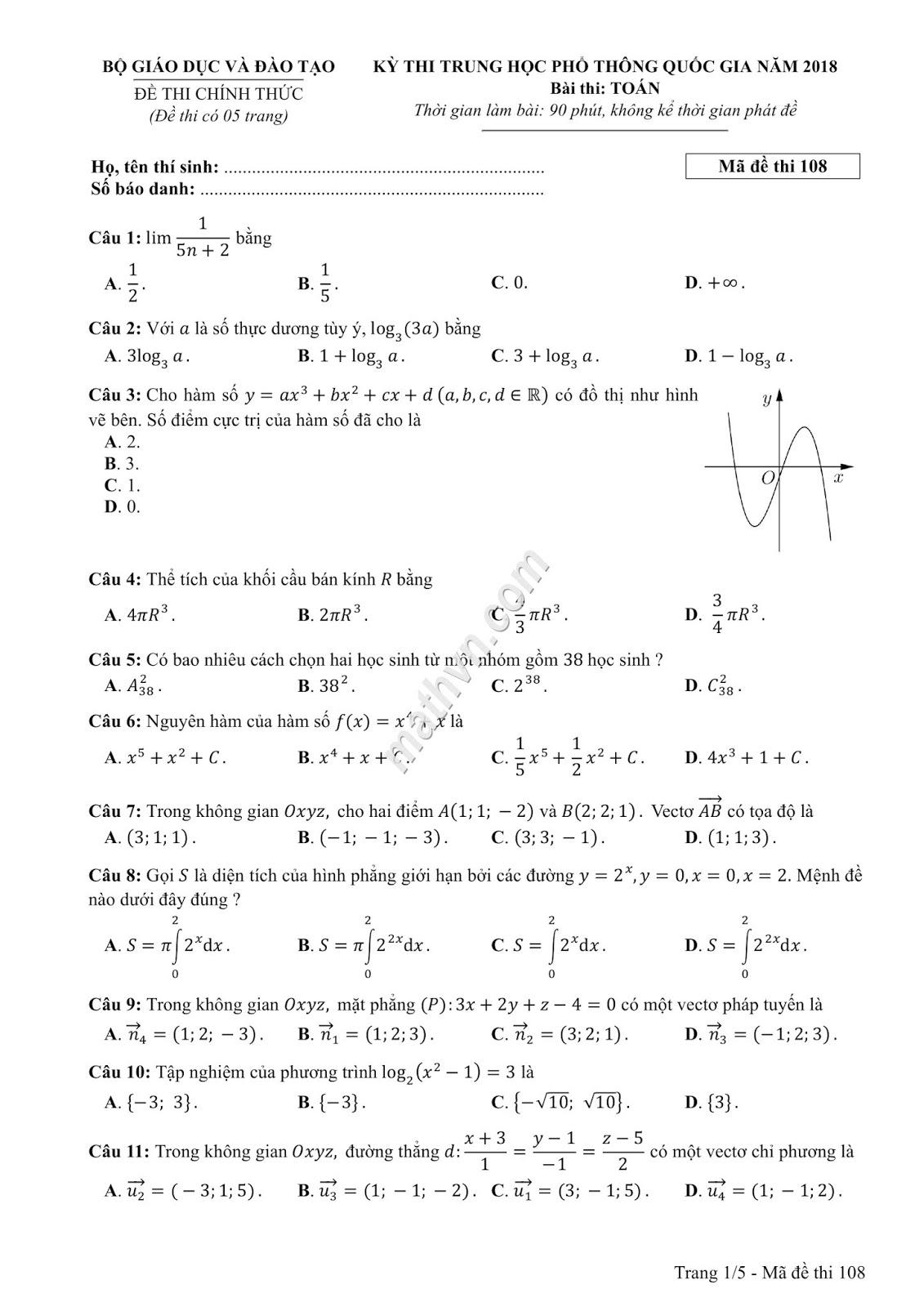 đề thi chính thức môn toán 2018 của Bộ Giáo dục 24 mã đề