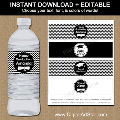 editable black & white graduation water bottle labels digital download