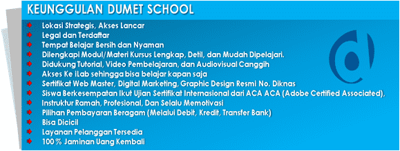 kursus internet marketing website desain grafis dumet school