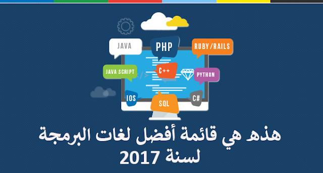 هذه هي قائمة أفضل لغات البرمجة لسنة 2017