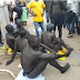 Photos: Partially naked Abuja indigenes stage protest over perceived marginalization by FG