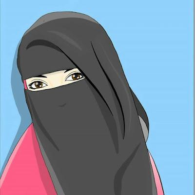 Kartun Muslimah Bercadar Hitam