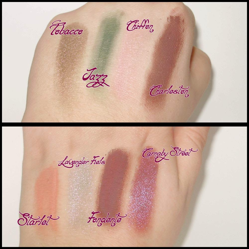 swatches pigmentos neve cosmetics