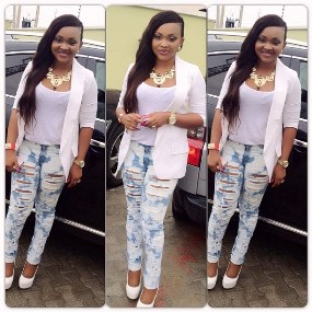 mercy aigbe wears jeans to wedding