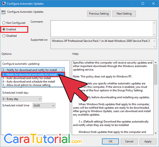 Configure Automatic Updates Windows 10