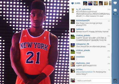 Iman Shumpert leaked the 2013-14 Knicks Orange Alt Jersey
