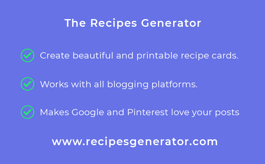 Create beautiful and printable recipe cards for your recipes. It works with Blogger, SquareSpace, Wiz, Wordpress, and any other platform you could think of. The best recipe plugin for Blogspot and Squarespace. Use this tool to add a printable recipe card for Blogger.