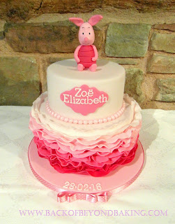 pink ombre ruffle christening cake