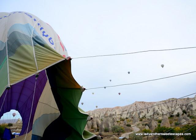 end of hot air balloon ride