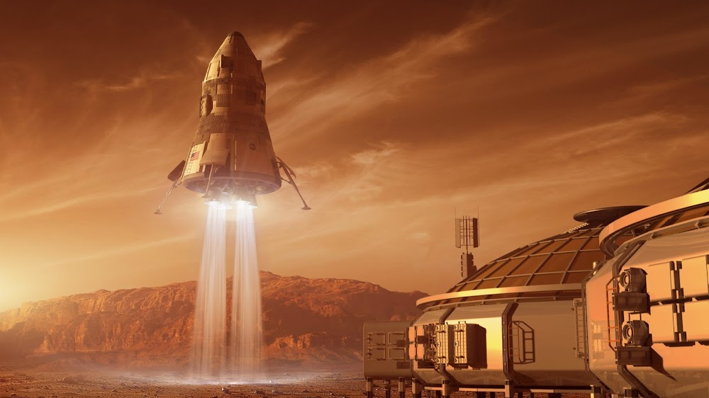Mars base and MAV liftoff - concept art for The Martian by Steve Burg