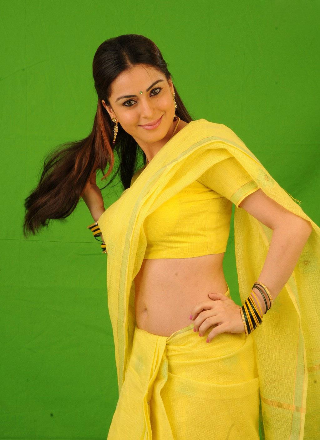 Shradha Arya Hot  Spicy In Yellow Saree Wallpaper  Hot -7840