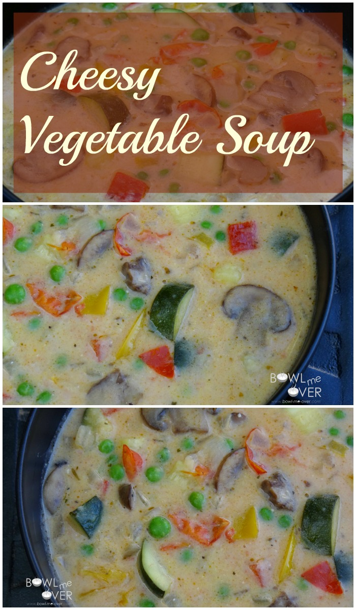 Cheesy Vegetable Soup: This weeknight soup is loaded up with fresh vegetables and a duo of cheeses. Ready in about 30 minutes!