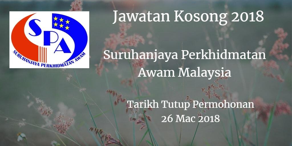 Jawatan Kosong Suruhanjaya Perkhidmatan Awam Malaysia 26 Mac 2018