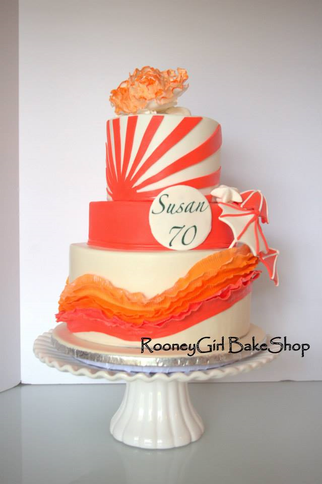 Coral Orange Ruffle 70th Cake