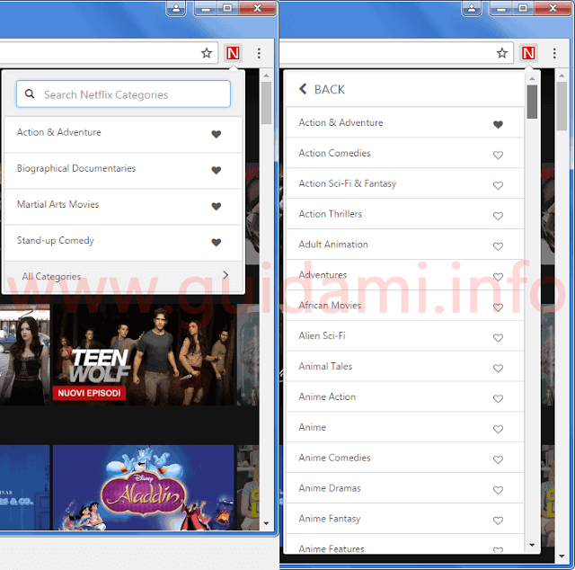Estensione Chrome Netflix Categories menu delle categorie