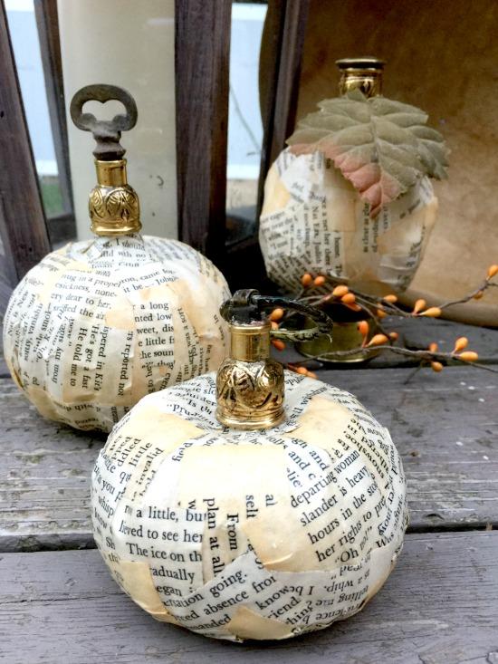 Newsprint fall decor pumpkins