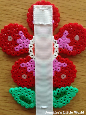 Sewing ribbon to Hama bead craft