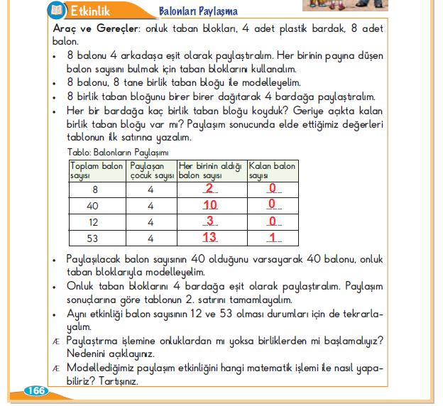 3. Sınıf Berkay Yayınları Matematik Ders Kitabı 166.Sayfa Cevapları Bölme İşlemi Yapalım