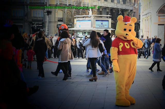 Street artist, Pooh Bear, Puerta del Sol, Madrid, Spain