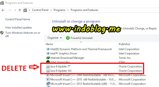 Menghapus program java di windows 7 8.1 10